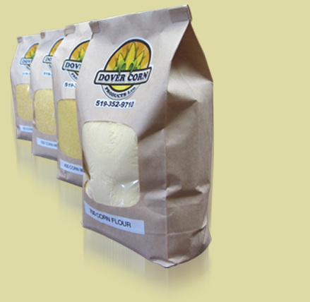 Corn meal and corn flour packages